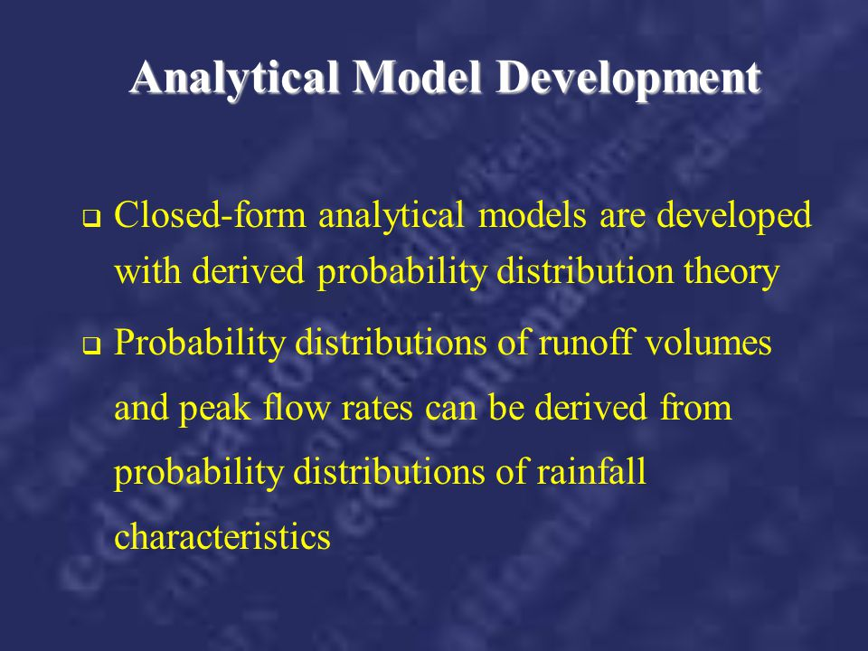 Analytical Model Development