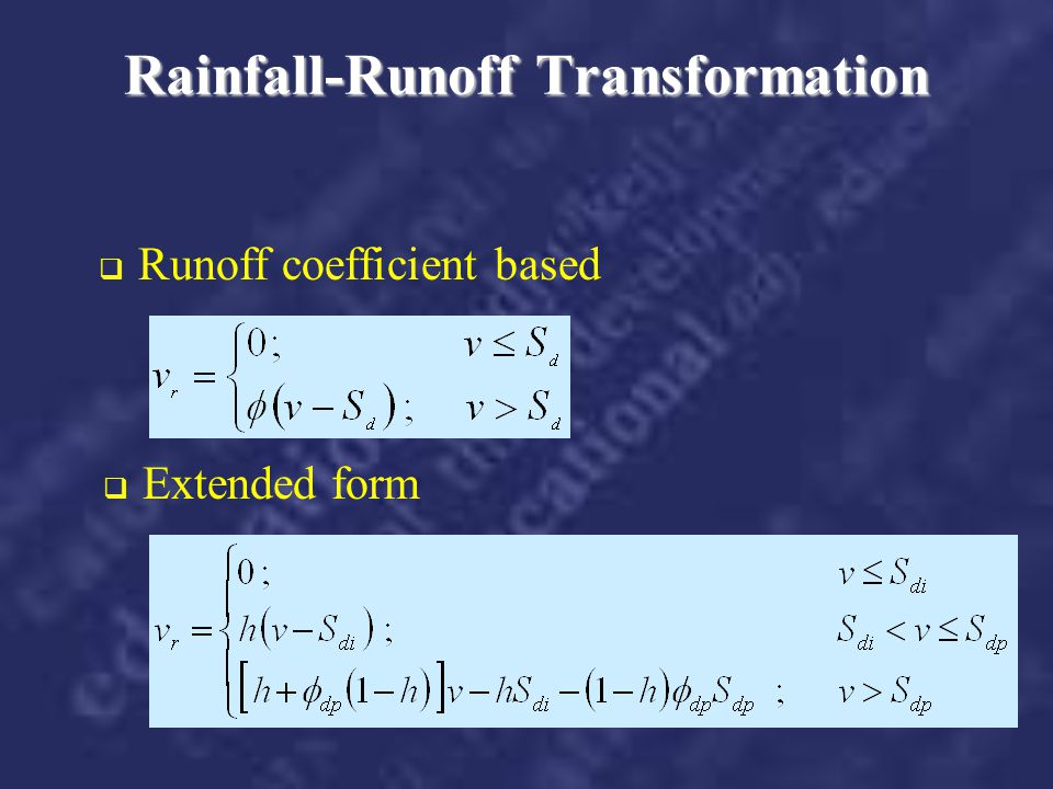 Rainfall-Runoff Transformation