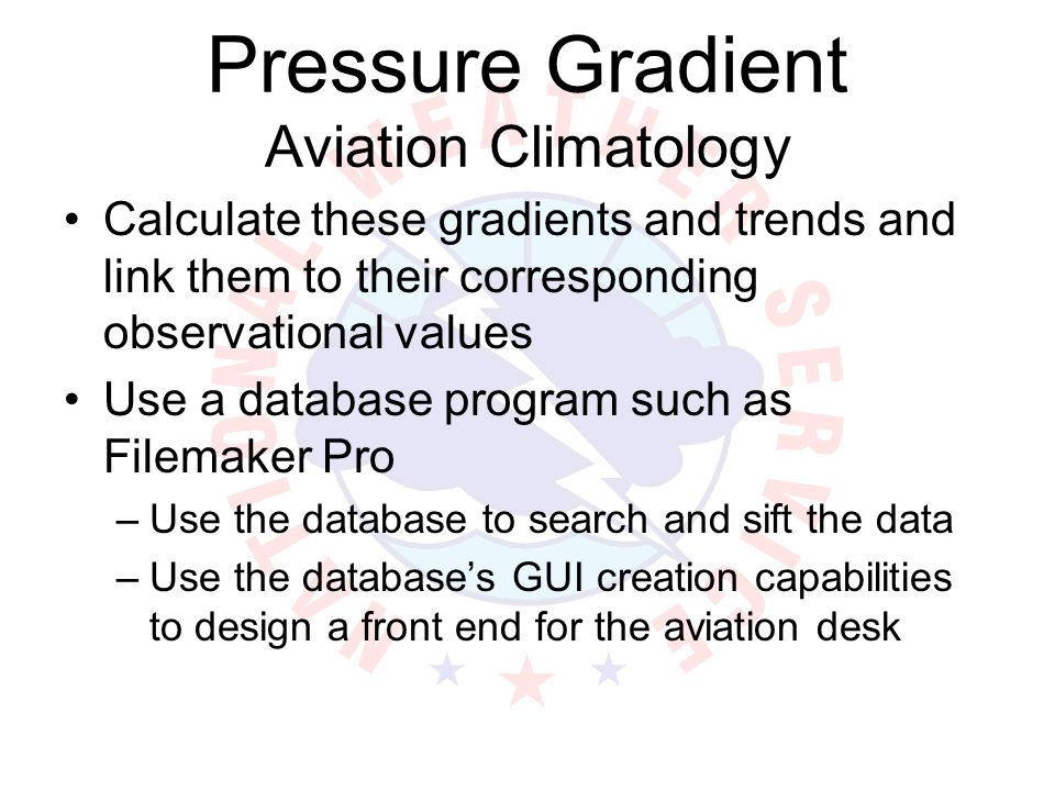 Pressure Gradient Aviation Climatology