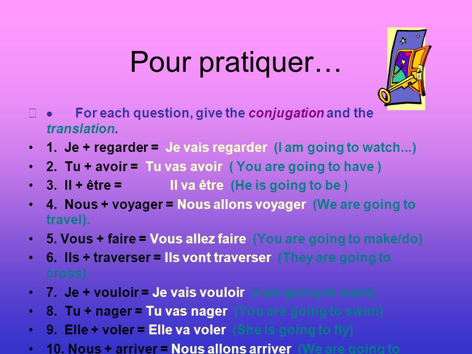 Pour pratiquer… · For each question, give the conjugation and the translation. 1. Je + regarder = Je vais regarder (I am going to watch...)
