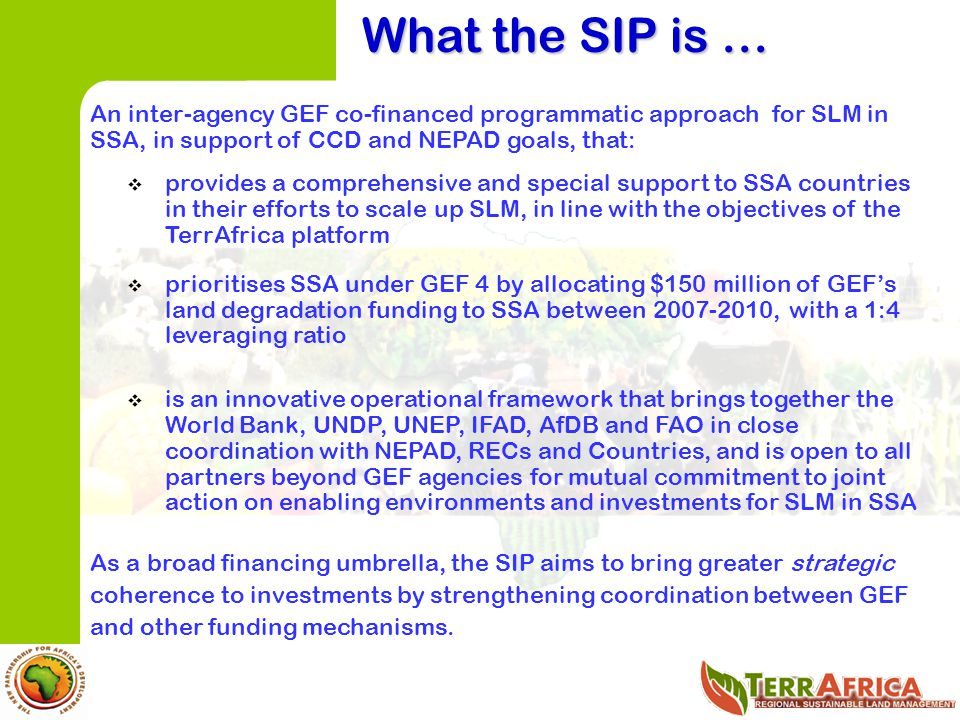 What the SIP is … An inter-agency GEF co-financed programmatic approach for SLM in SSA, in support of CCD and NEPAD goals, that: