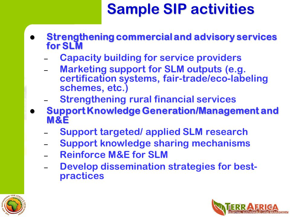 Sample SIP activities Strengthening commercial and advisory services for SLM. Capacity building for service providers.