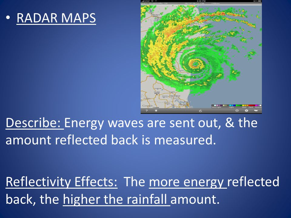 RADAR MAPS Describe: Energy waves are sent out, & the amount reflected back is measured.
