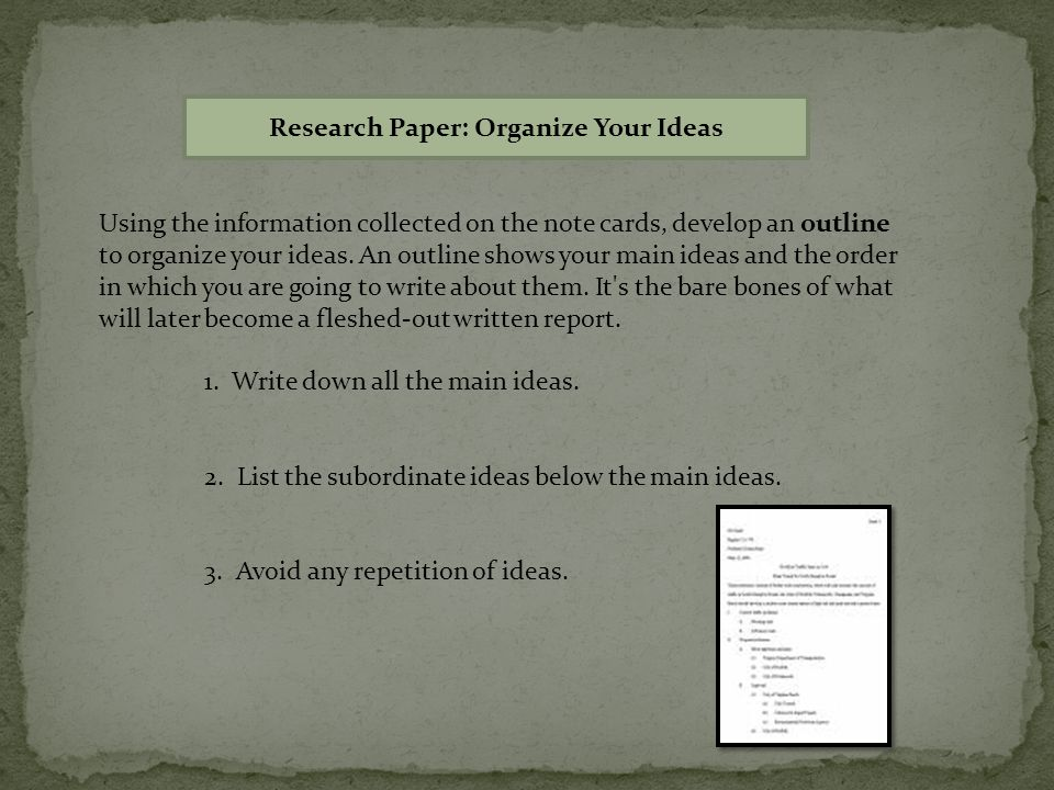 you organize a research paper Research paper organization and content mary westervelt the introduction is not the place to show that you did a lot of research (some of which led to dead ends) instead, think of it as a concise statement of the motivation for the particular study.