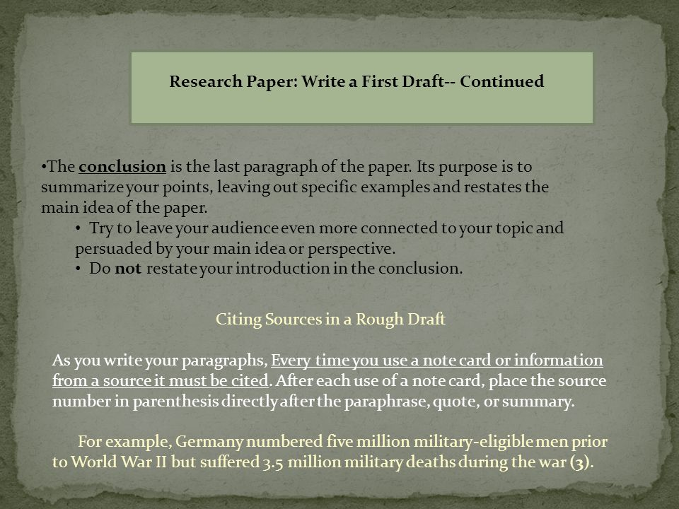 how to write a draft paper