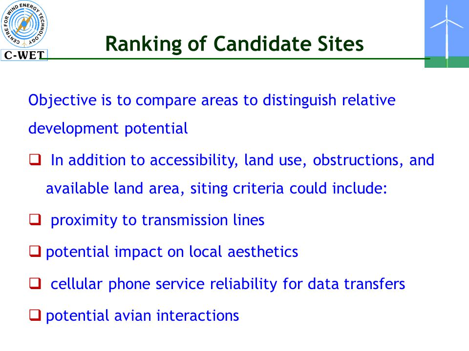 Ranking of Candidate Sites