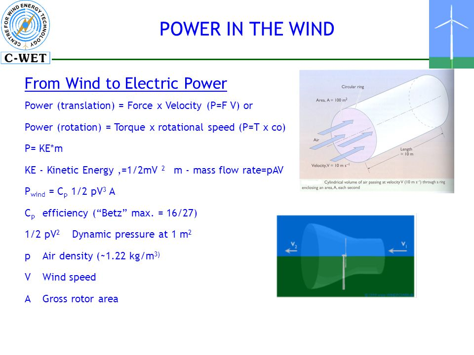 POWER IN THE WIND From Wind to Electric Power