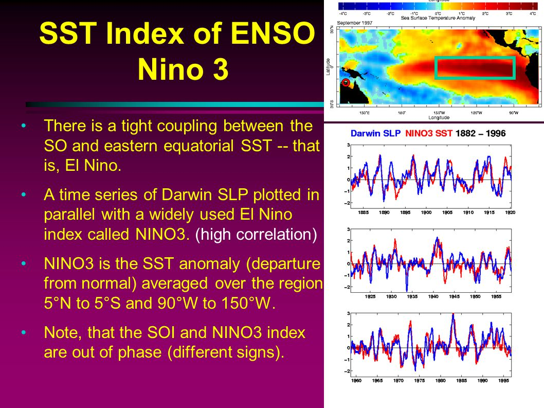 SST Index of ENSO Nino 3 There is a tight coupling between the SO and eastern equatorial SST -- that is, El Nino.