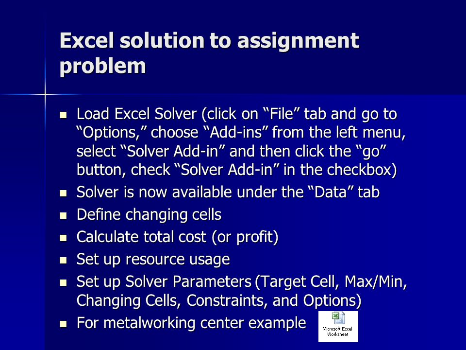 production scheduling ppt video online  excel solution to assignment problem