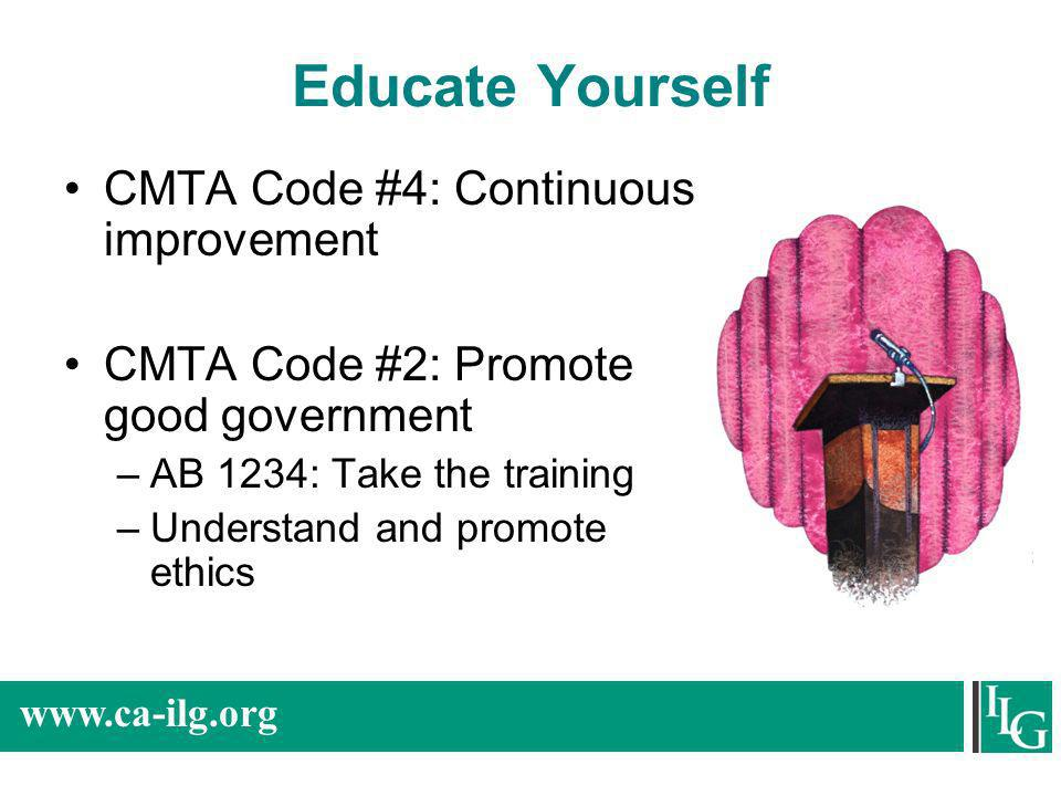 Educate Yourself CMTA Code #4: Continuous improvement