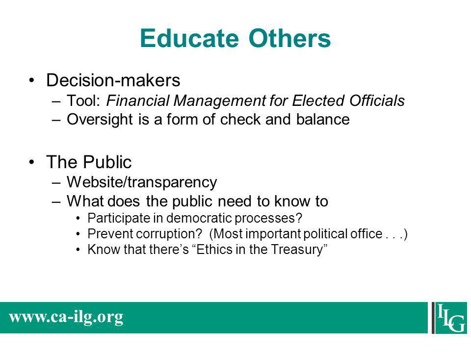Educate Others Decision-makers The Public