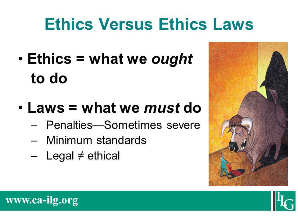 Ethics Versus Ethics Laws