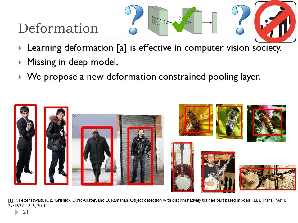 Deformation Learning deformation [a] is effective in computer vision society. Missing in deep model.