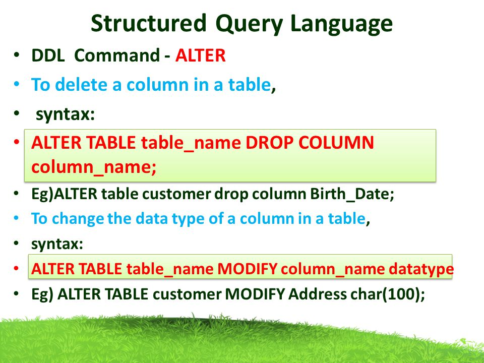 Structured query language ppt download - Alter table change column type ...