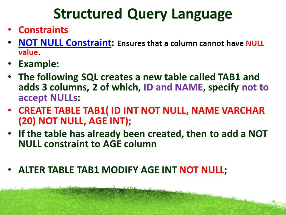 how to add not null constraint in sql