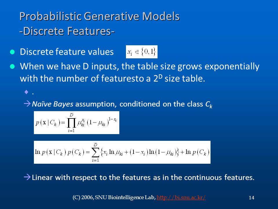 Probabilistic Generative Models -Discrete Features-