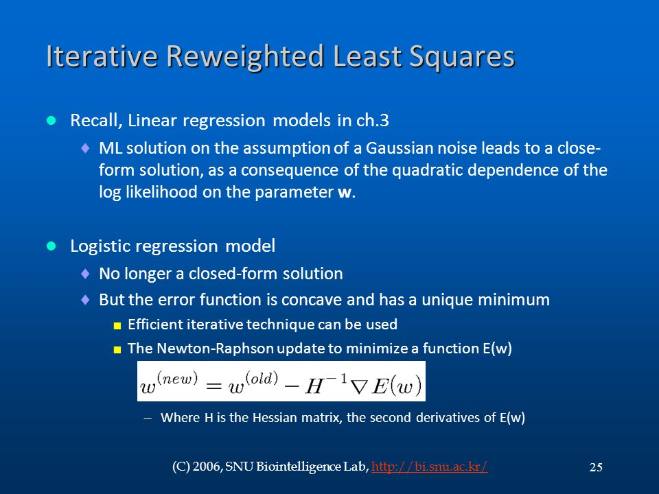 Iterative Reweighted Least Squares