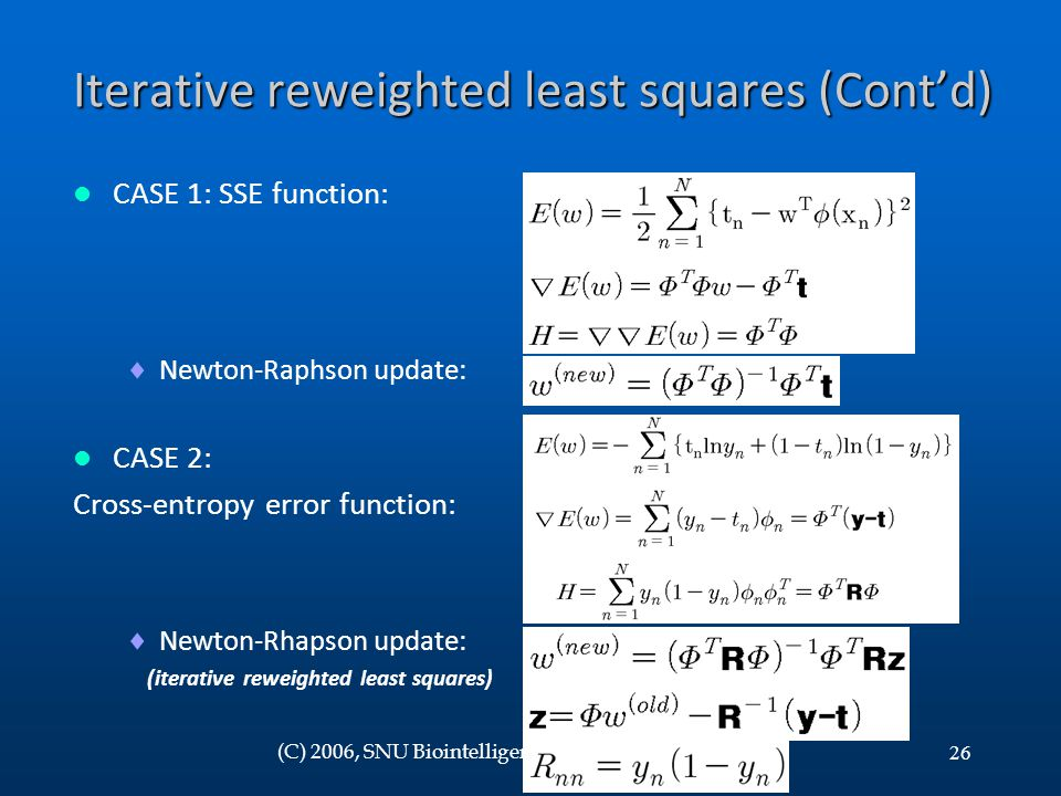 Iterative reweighted least squares (Cont'd)