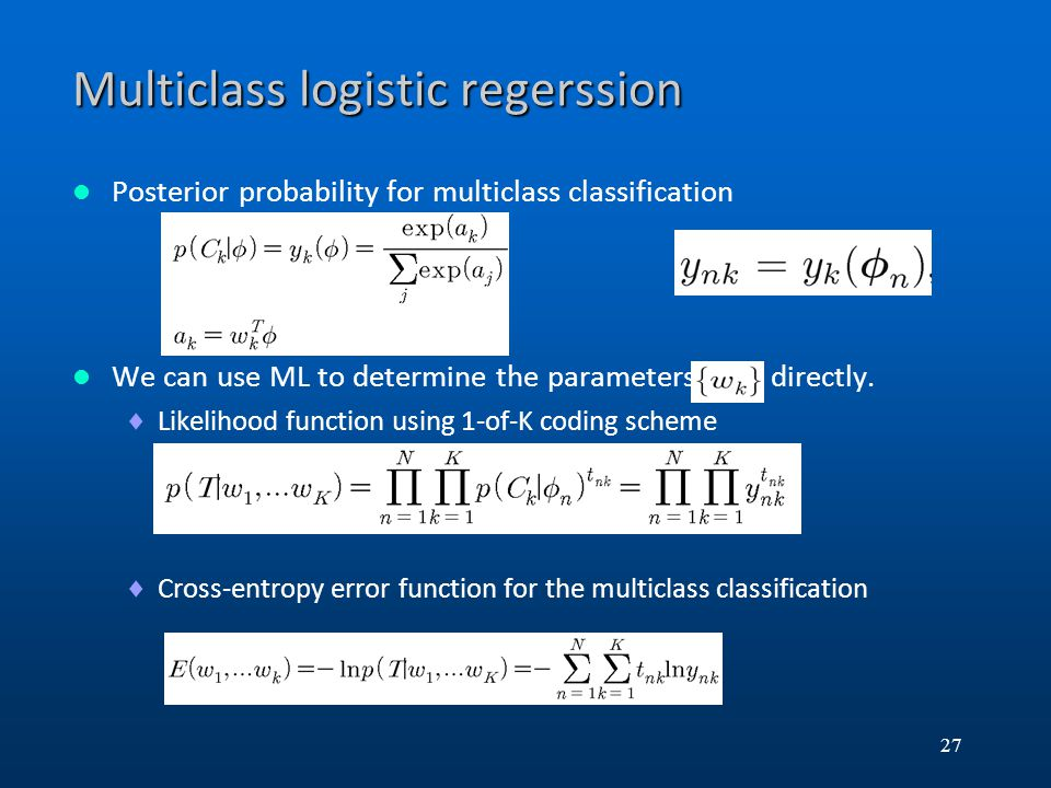 Multiclass logistic regerssion
