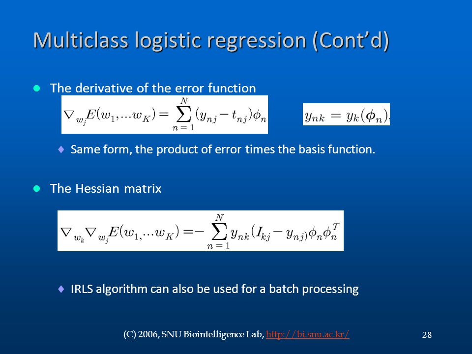 Multiclass logistic regression (Cont'd)