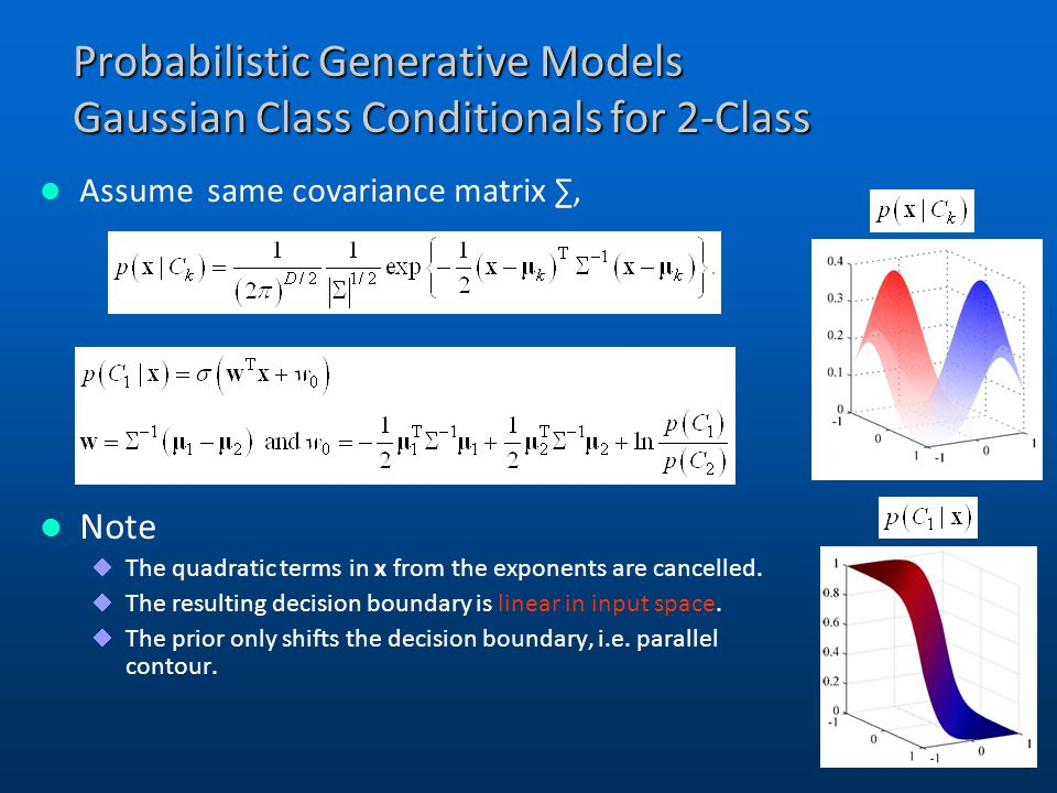 Probabilistic Generative Models Gaussian Class Conditionals for 2-Class
