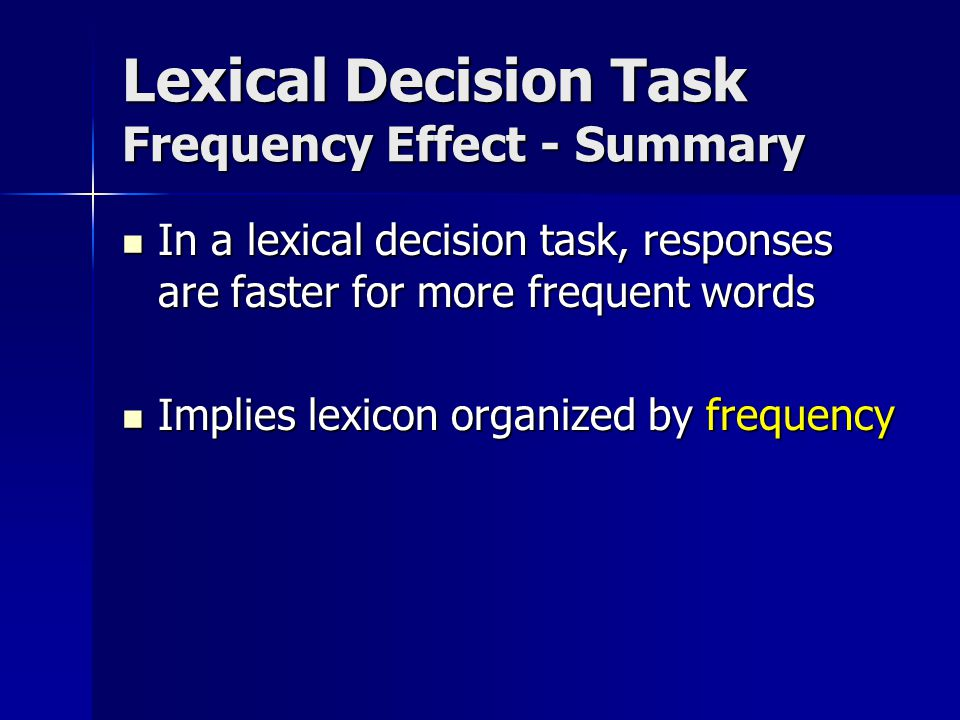 Lexical decision task: associative word priming Essay