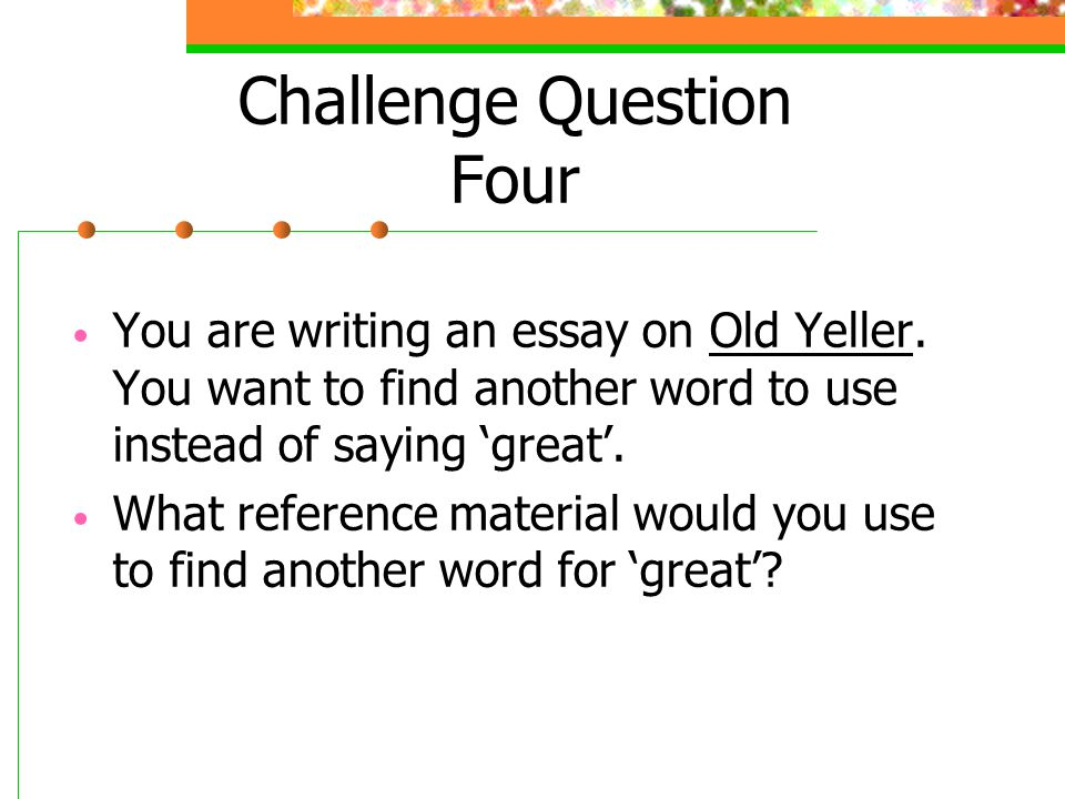 Essay questions for old yeller