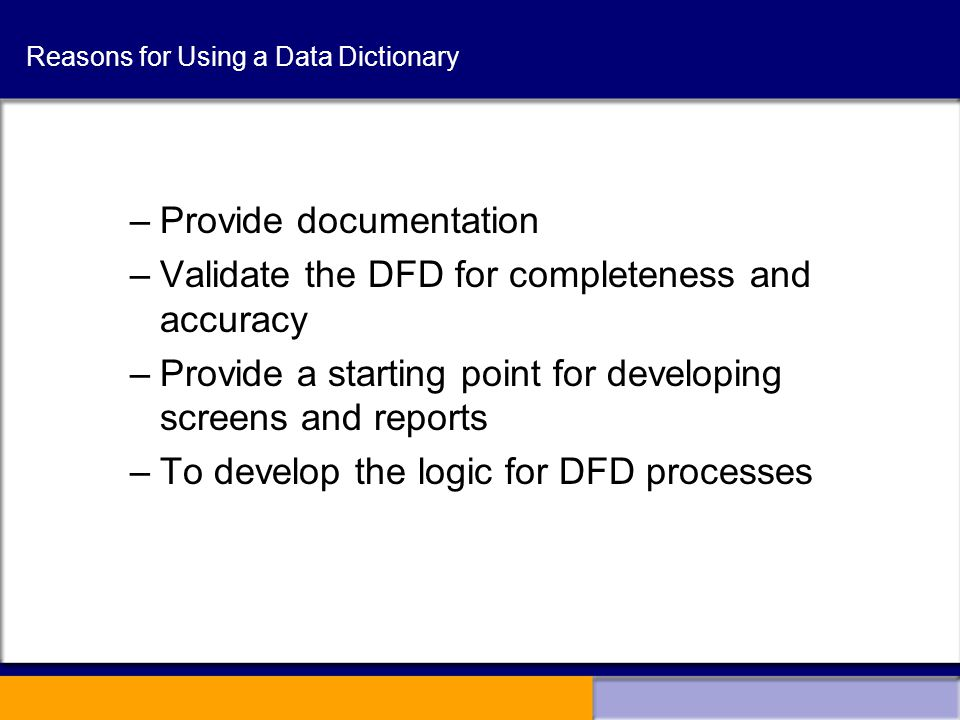 how to create data dictionary for project