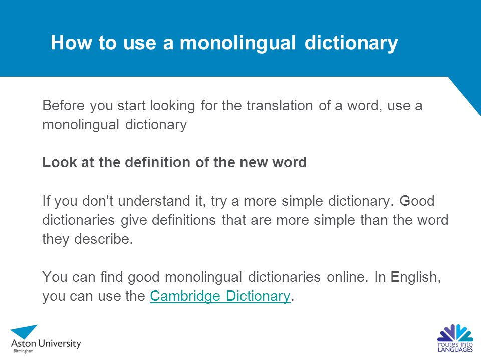 How to use a monolingual dictionary