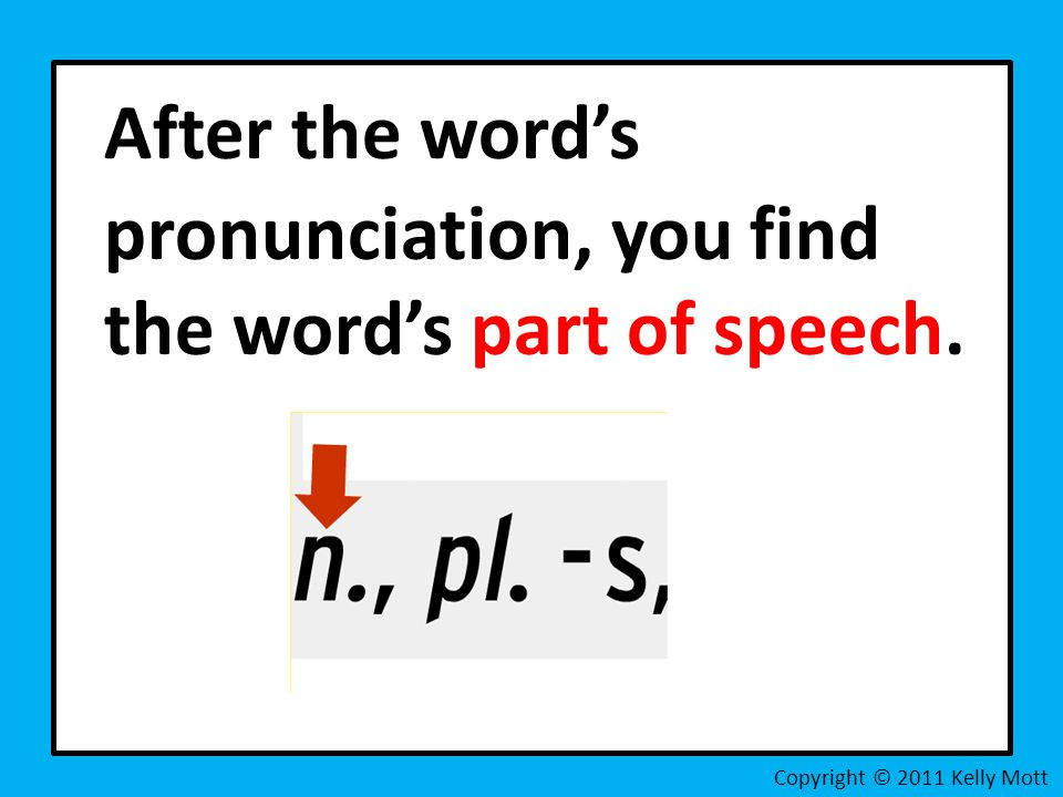 After the word's pronunciation, you find the word's part of speech.