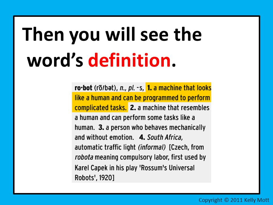 Then you will see the word's definition.