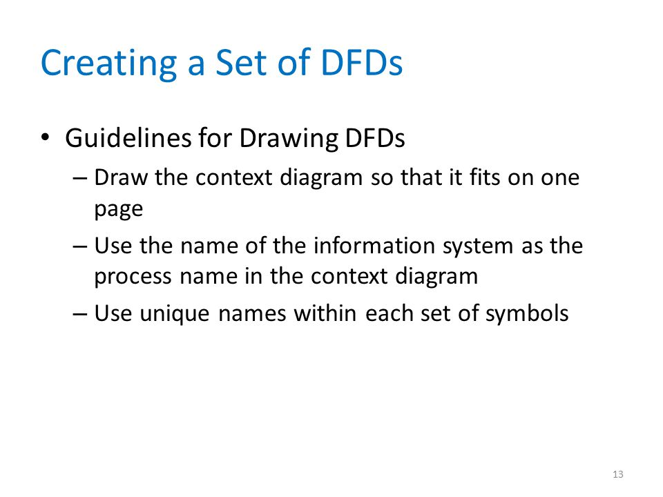 Creating a Set of DFDs Guidelines for Drawing DFDs