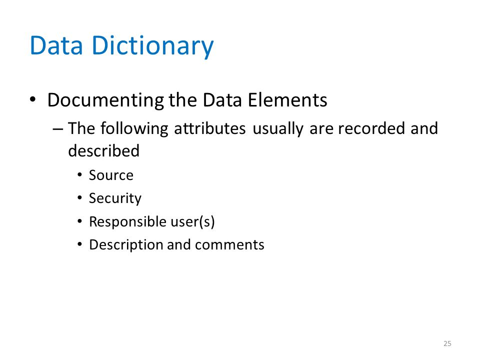 Data Dictionary Documenting the Data Elements