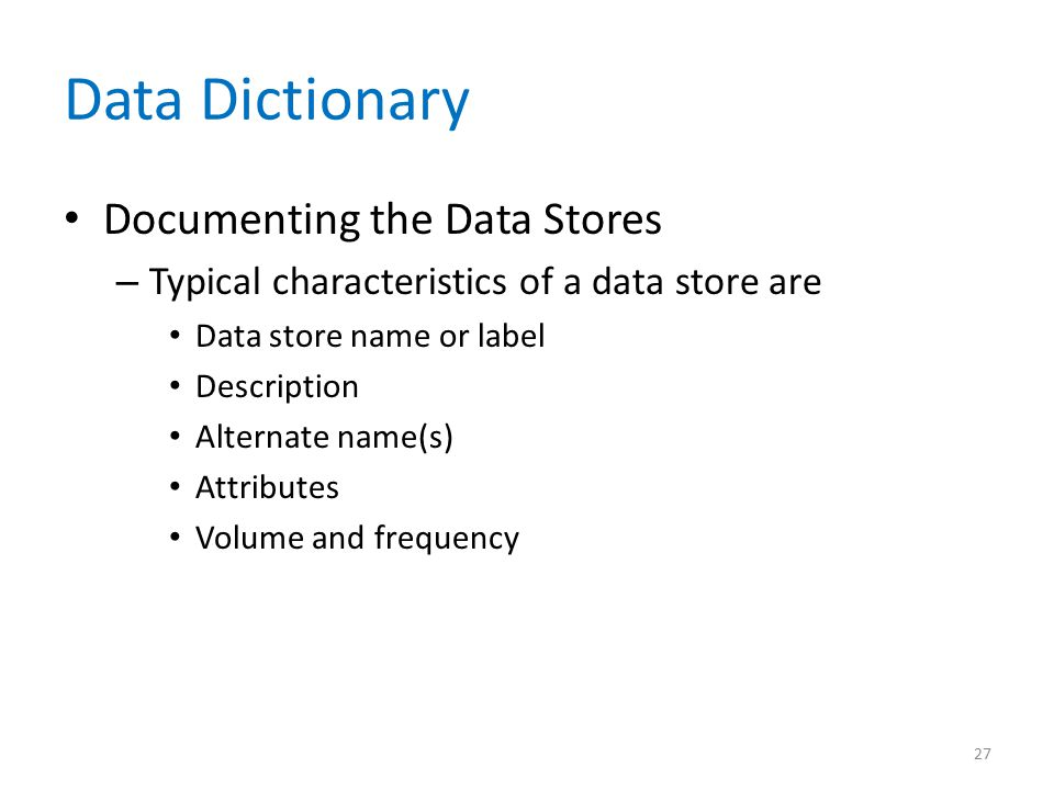 Data Dictionary Documenting the Data Stores