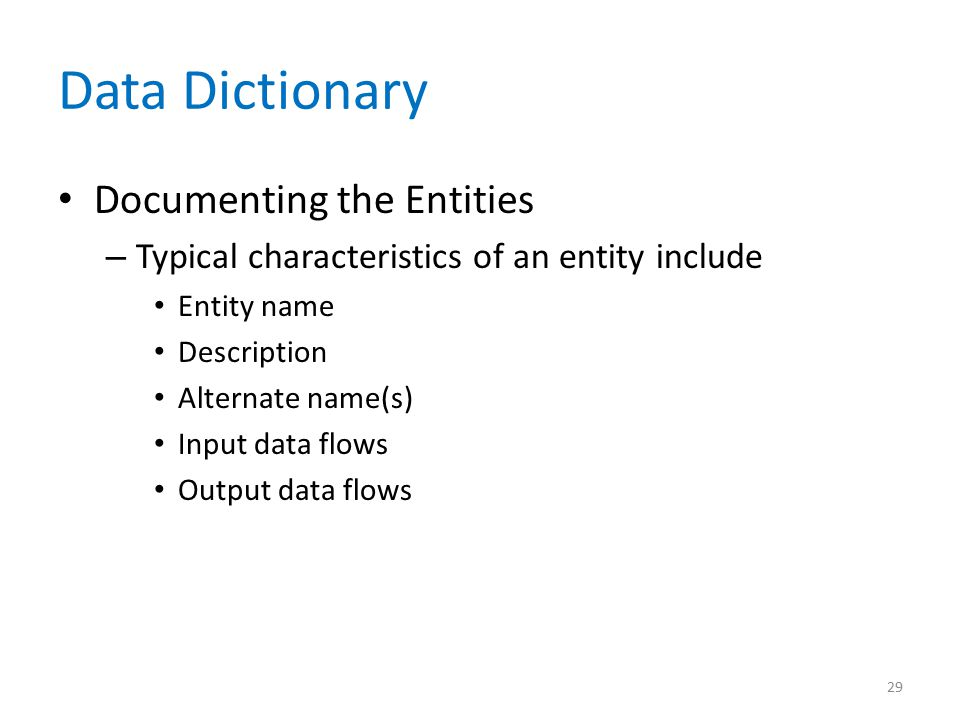 Data Dictionary Documenting the Entities