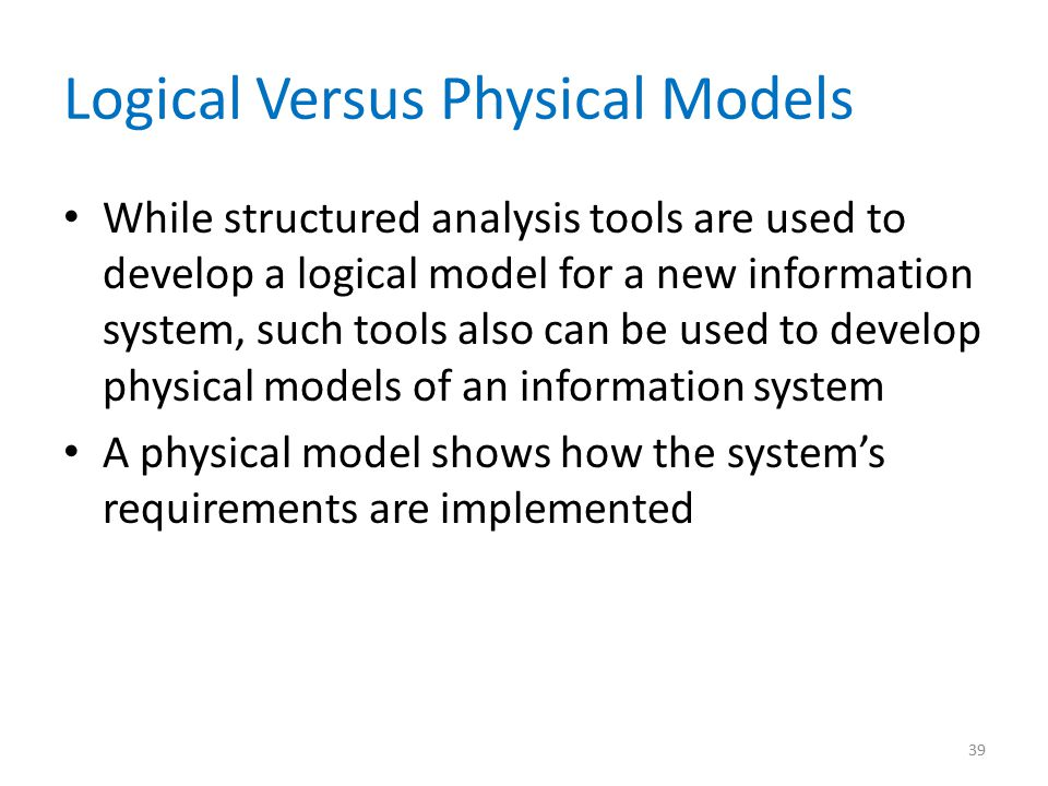 Logical Versus Physical Models