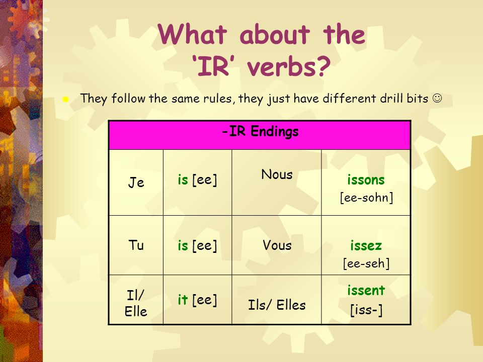 What about the 'IR' verbs