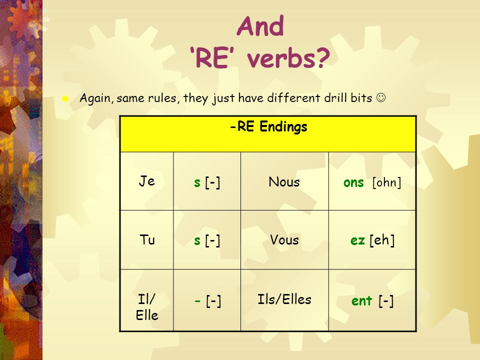 And 'RE' verbs -RE Endings Je s [-] Nous ons [ohn] Tu Vous ez [eh]