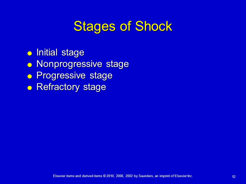 Stages of Shock Initial stage Nonprogressive stage Progressive stage