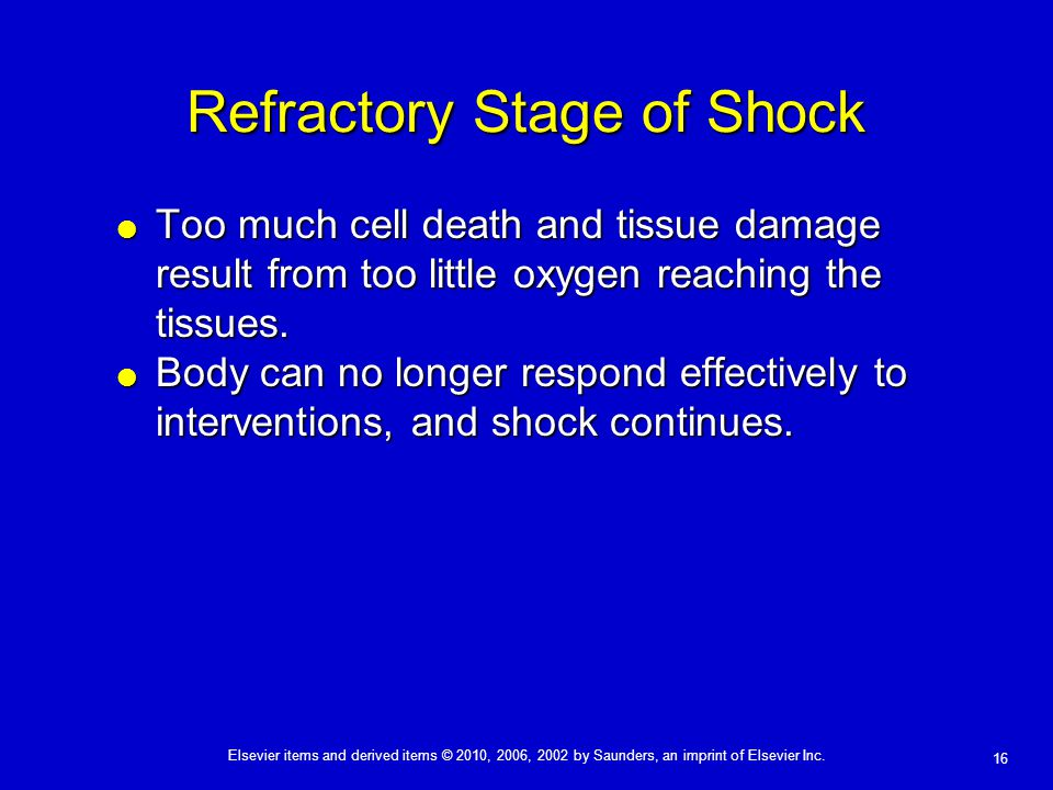 Refractory Stage of Shock