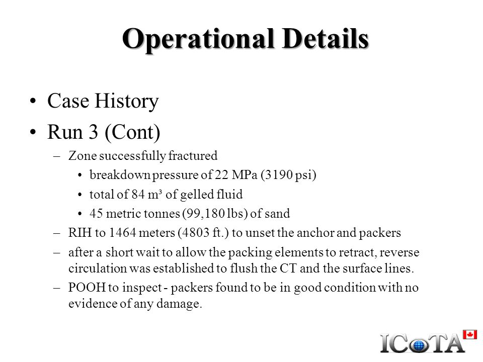 Operational Details Case History Run 3 (Cont)