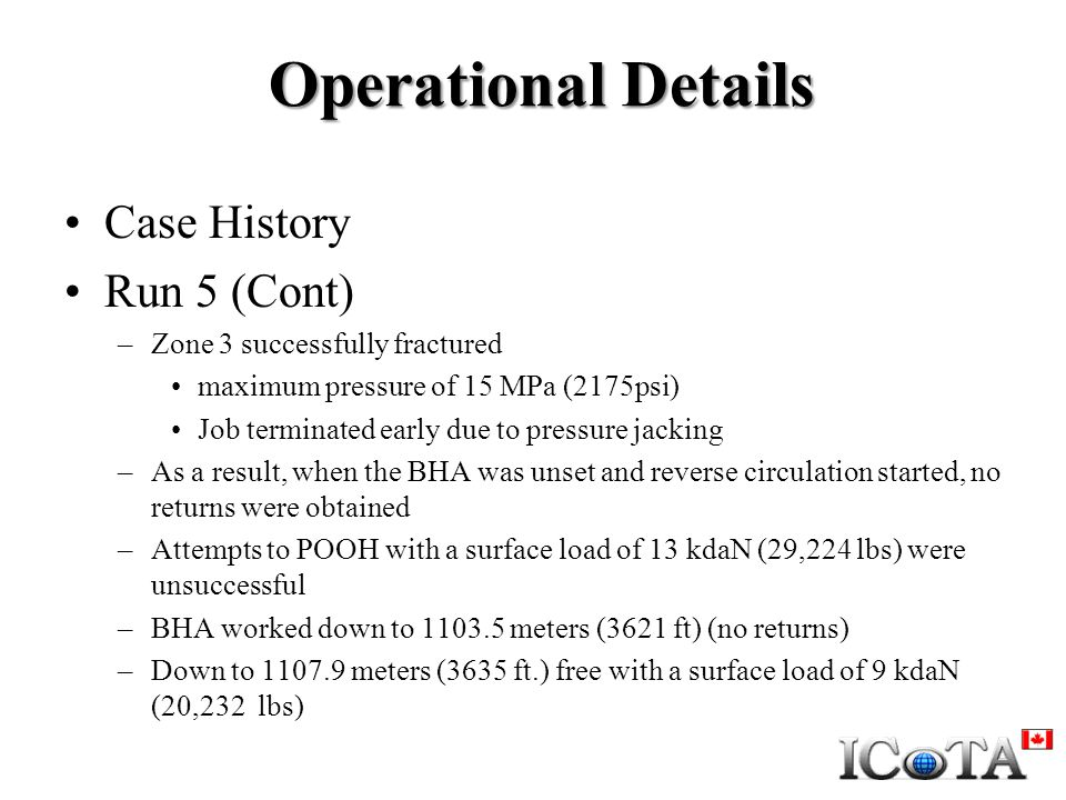 Operational Details Case History Run 5 (Cont)