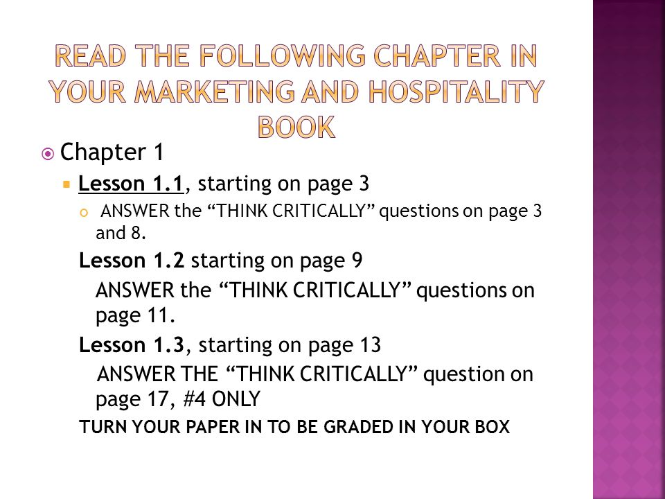 Read the following Chapter in your Marketing and Hospitality Book