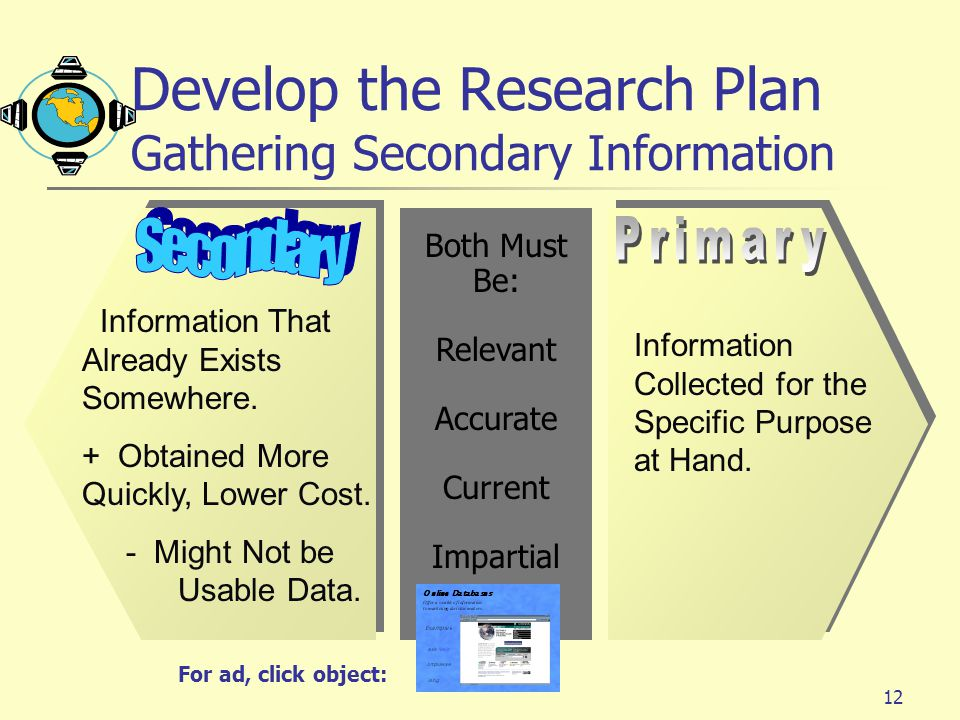 Develop the Research Plan Gathering Secondary Information