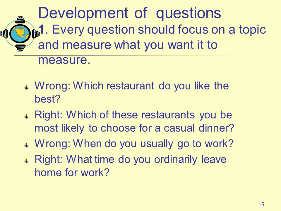 Development of questions 1