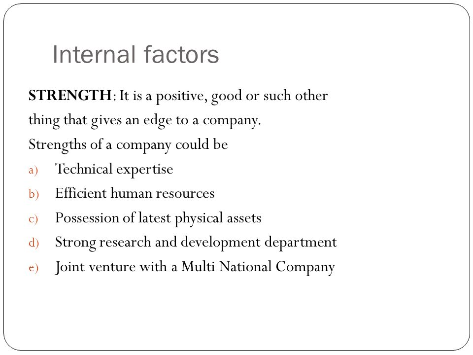 internal factors that affect new product An overview of the factors of success for new product development the 8 key factors involved in new product development are knowledge management.