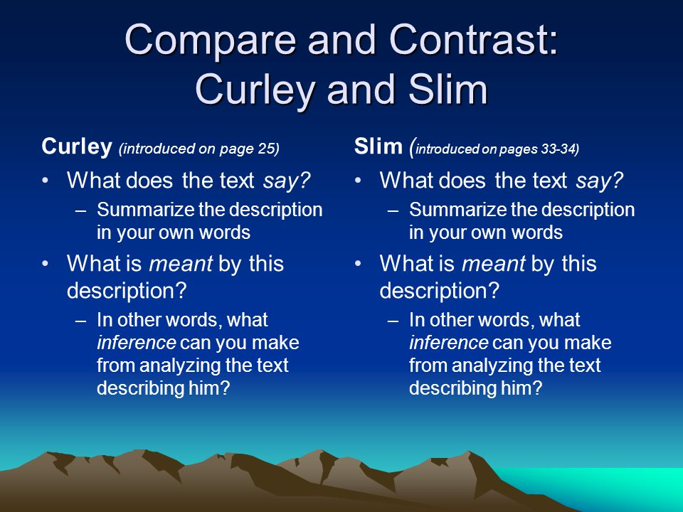 of mice and men compare and contrast essay Essay of mice and men  mice and men - compare and contrast many movies are derived from novels, and all of them have major differences from the book version.