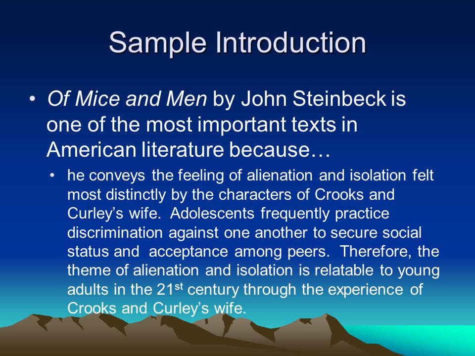 an initial analysis of john steinbecks novella of mice and men Critical analysis essay steinbeck from the novel itself they should place these initial terms literary terms for of mice and men.