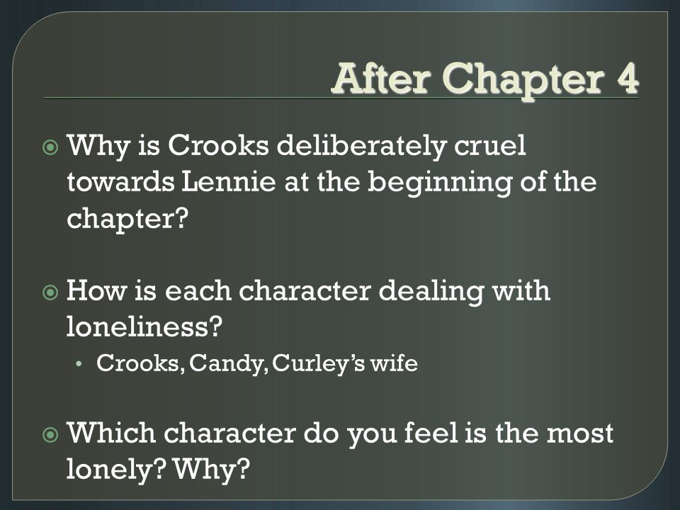 Of Mice and Men: Crooks character analysis