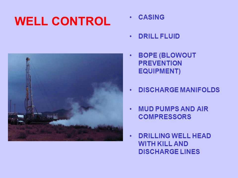 WELL CONTROL CASING DRILL FLUID BOPE (BLOWOUT PREVENTION EQUIPMENT)